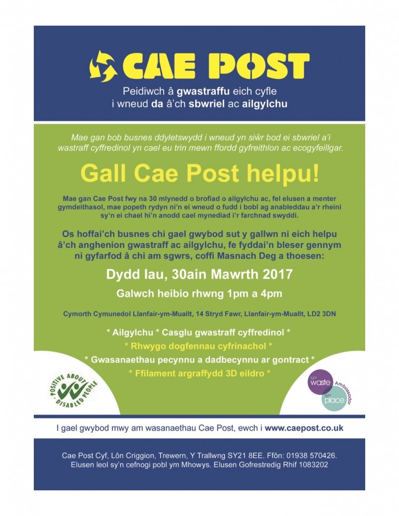 Cae Post Drop in Session at BWCS (flyer) Welsh